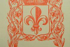 Riemkap Gekroond wapenschild Franse Lelie rood