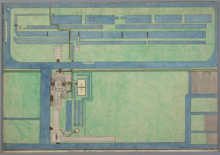 Aquarel plattegrond erf papiermolen de Vergulde Bijkorf