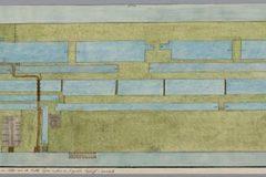 Aquarel plattegrond slotenpatroon papiermolen de Vergulde Bijkorf