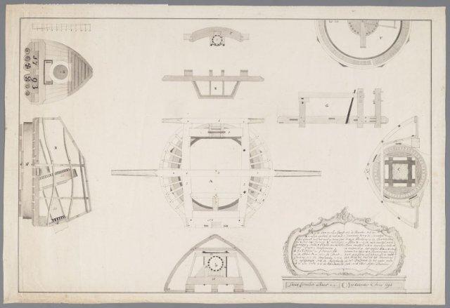 Bouwtekening van een molenkap van een papiermolen, J.Breet, 1793 [GAZ52.00046]