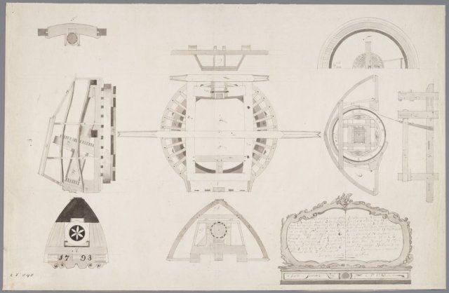 Bouwtekening van een molenkap van een papiermolen, J.J.Kool, 1793 [GAZ52.00047]
