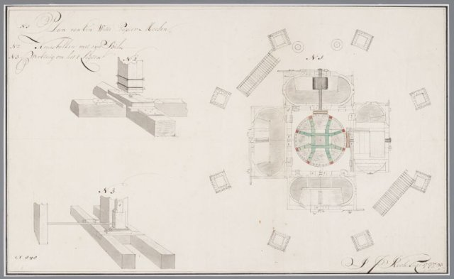 Bouwtekening voor een witte papiermolen, J.J.Kool, 1793 [GAZ52.00042]