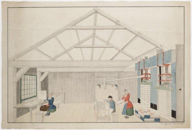 Geaquarelleerde tekening van een pakkamer, J.Breet, 1792 [GAZ13.0019]