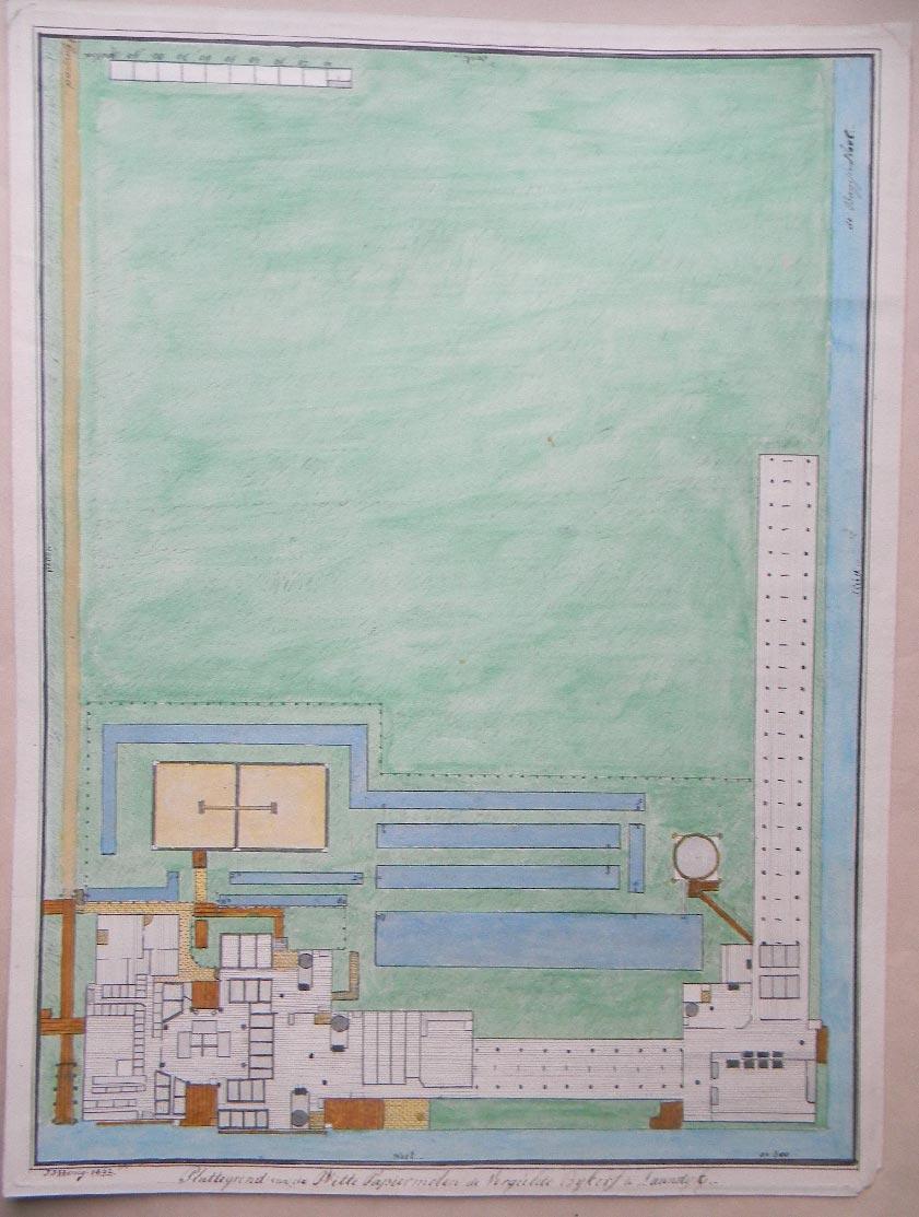Plattegrond van de witte papiermolen 'de Vergulde Bijkorf'